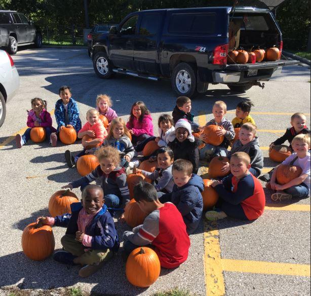 Teacher's husband donates pumpkins to class